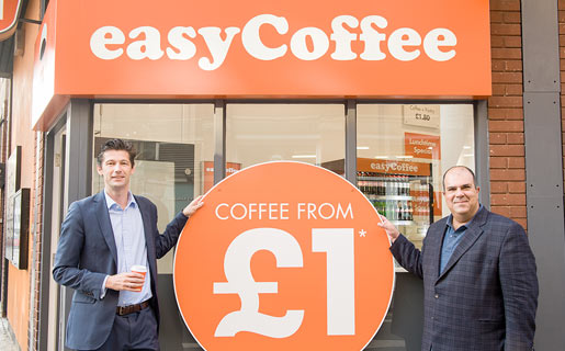 Nathan Lowry with Sir Stelios at easyCoffee.